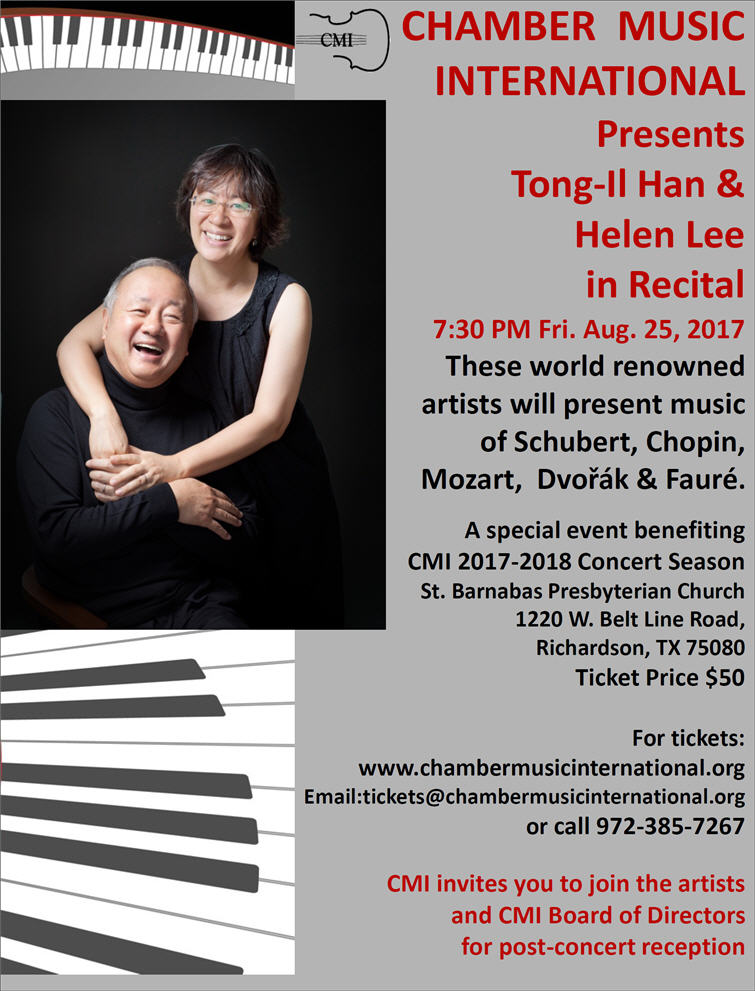CMI Benefit Concert, Presenting Tong-il Han & Helen Lee in Recital!  To purchase tickets, please click on the links below or call 972-385-7267